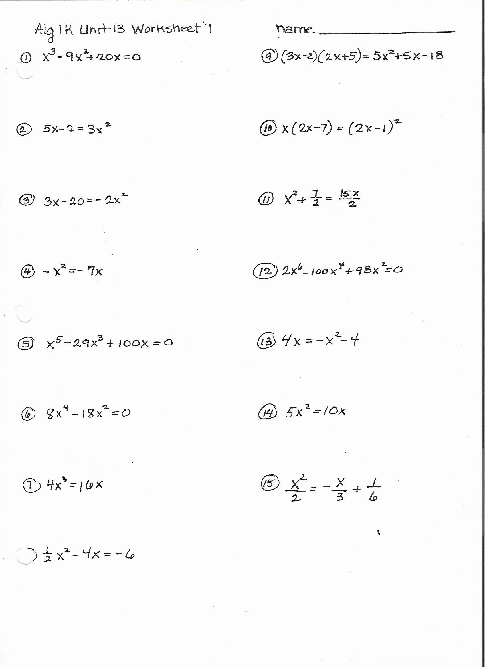Factoring Worksheet with Answers Elegant 11 Best Of Factoring Worksheets Algebra Ii