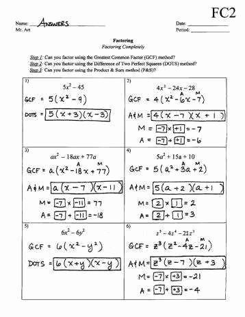 factor trinomials worksheet