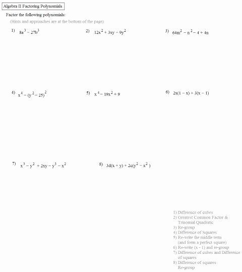 Factoring Worksheet with Answers Elegant Factoring Quadratics Worksheet Answers