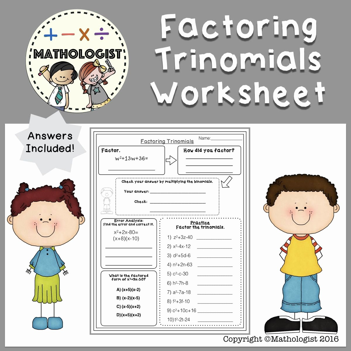 Factoring Worksheet with Answers Fresh Factoring Trinomials Worksheet A=1 Algebra Homework