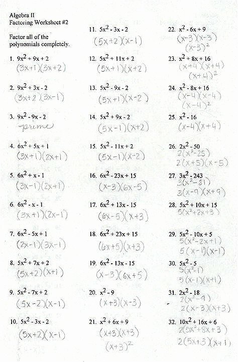 Factoring Worksheet with Answers Luxury Factoring Review Worksheet