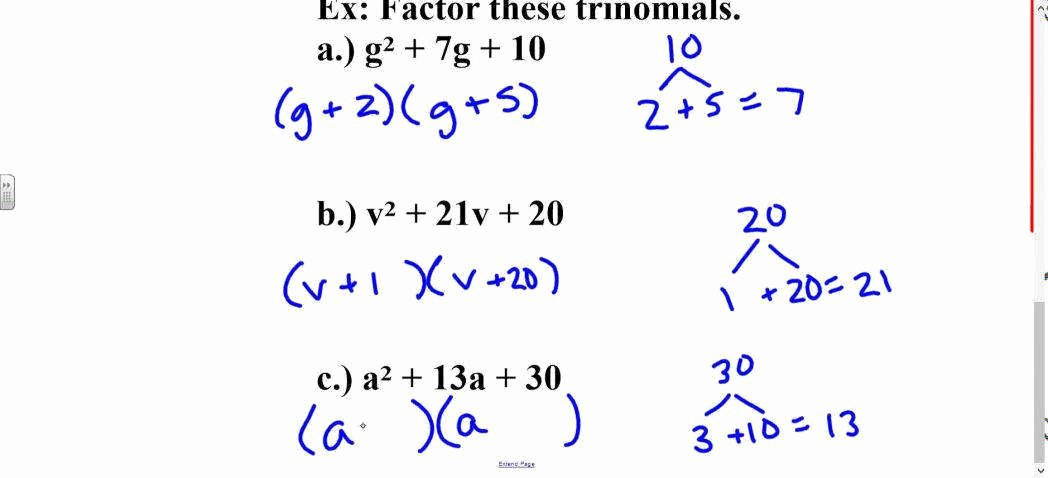 Factoring X2 Bx C Worksheet Awesome Factor Trinomials Worksheet