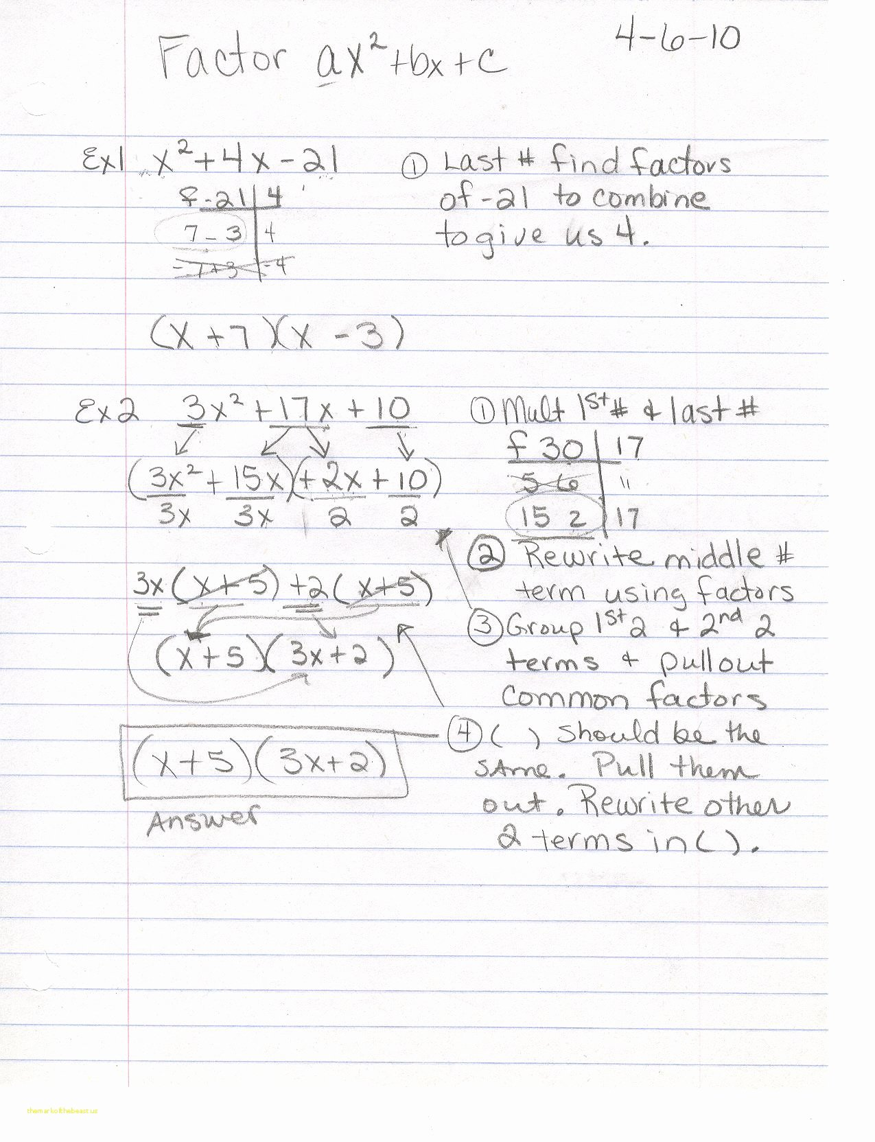 Factoring X2 Bx C Worksheet Awesome Factoring Ax2 Bx C Worksheet the Best Worksheets Image