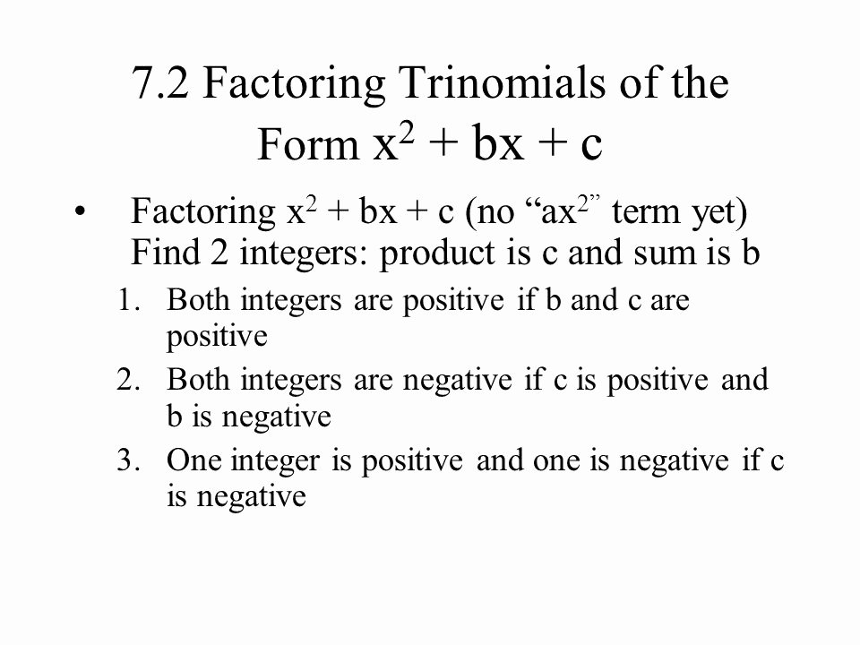 Factoring X2 Bx C Worksheet New 44 Algebra Worksheet Section 10 5 Factoring Polynomials