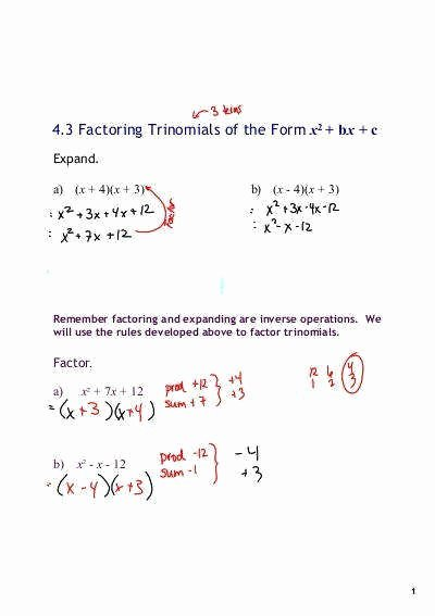 Factoring X2 Bx C Worksheet Unique Factor Trinomials Worksheet