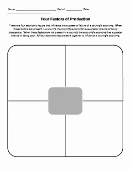 Factors Of Production Worksheet Answers New Four Factors Of Production Graphic organizer
