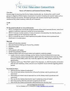 Factors Of Production Worksheet Answers Unique Factors Of Production and Economic Decision Making Lesson