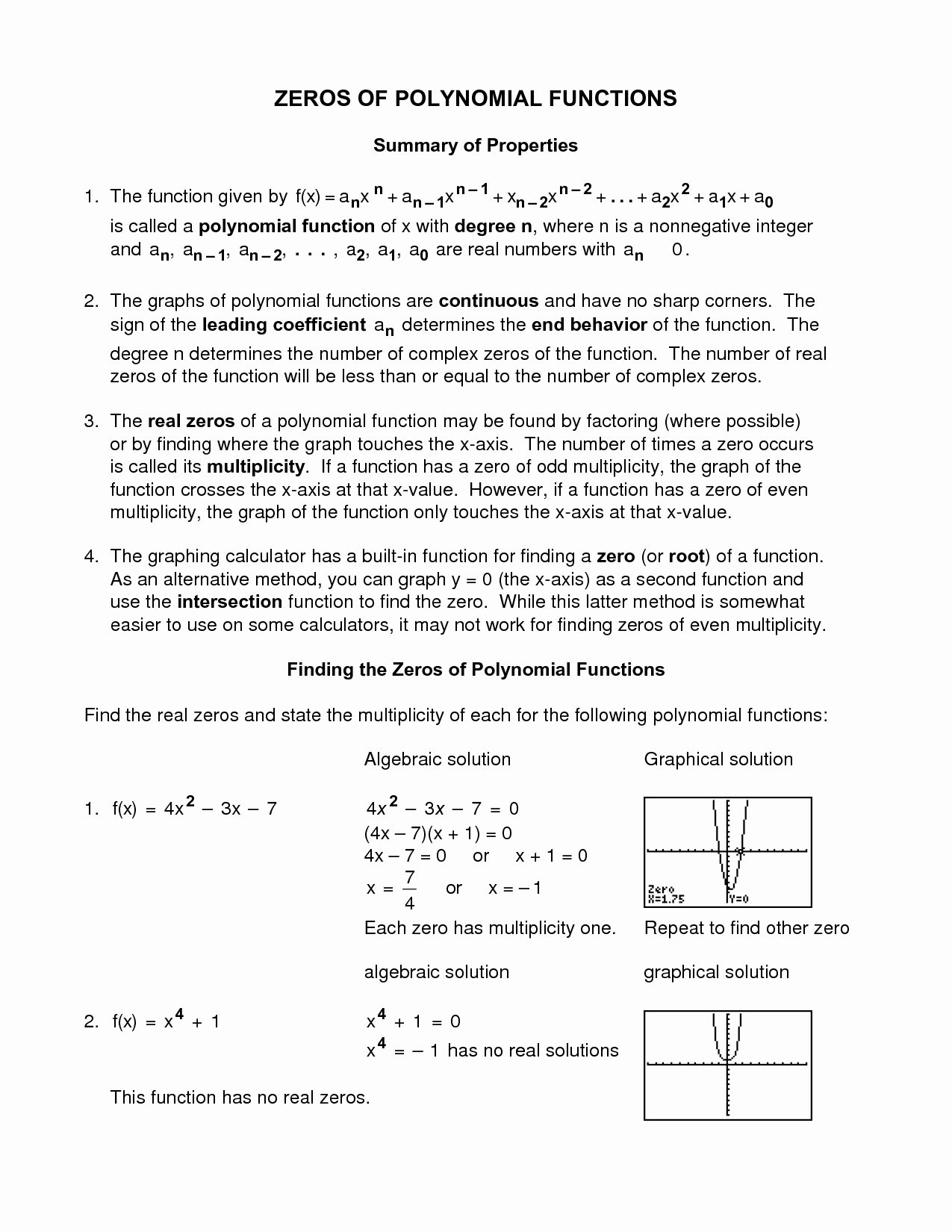 Families Of Functions Worksheet Unique Worksheet 2 5 Zeros Polynomial Functions