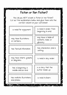 Fiction Vs Nonfiction Worksheet Awesome Fiction Vs Nonfiction Worksheet