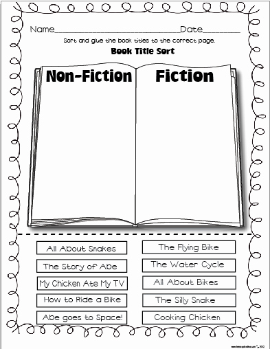 Fiction Vs Nonfiction Worksheet Best Of New 700 First Grade Nonfiction Worksheets