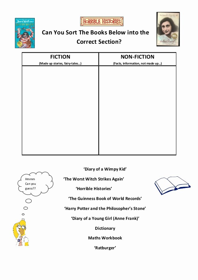 Fiction Vs Nonfiction Worksheet Elegant Class Visit Worksheet Fiction Vs Non Fiction