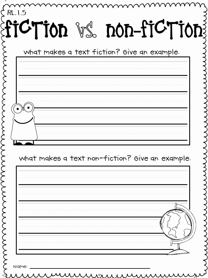 Fiction Vs Nonfiction Worksheet Inspirational First Grade Mon Core Literature and Informational Text