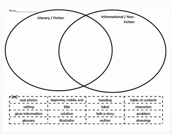 Fiction Vs Nonfiction Worksheet Luxury Fiction Vs Non Fiction Venn Diagram sort by Chantelle