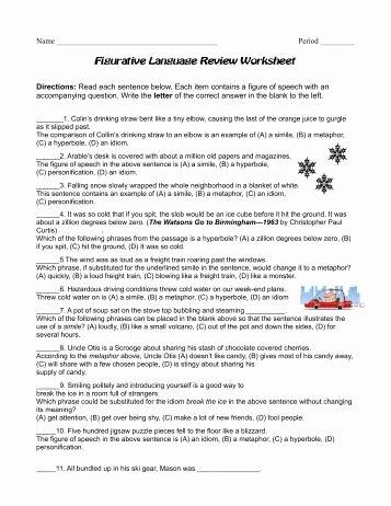 Figurative Language Review Worksheet Awesome Figurative Language Of O Henry