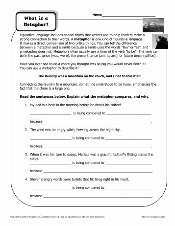 Figurative Language Review Worksheet Awesome Figurative Language Review Worksheet Reeths Puffer Schools