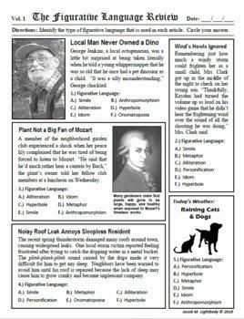 Figurative Language Review Worksheet Beautiful Figurative Language Review by Jacob Lightbody