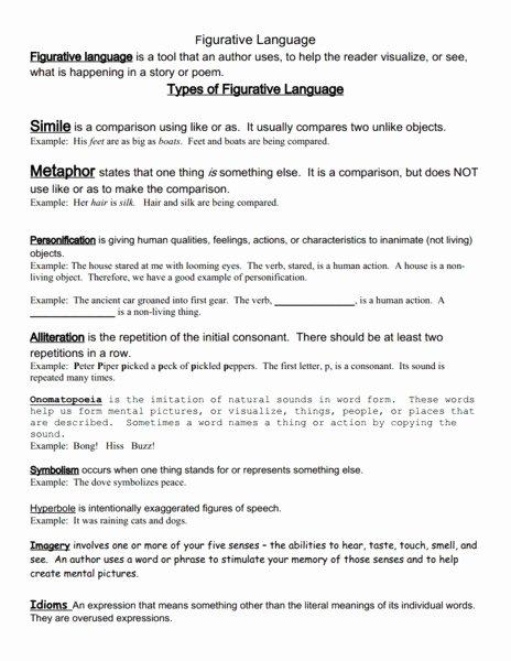 Figurative Language Review Worksheet Beautiful Language 7th Grade Ela Mon Core Collection