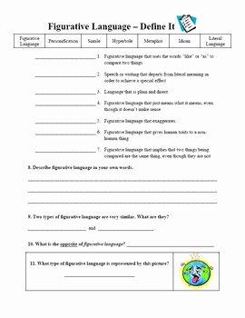 Figurative Language Worksheet 2 Answers Awesome Figurative Language Worksheets by the Illustrated