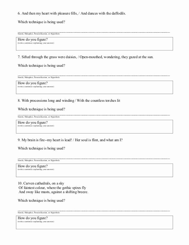 Figurative Language Worksheet 2 Answers Beautiful Figurative Language Worksheet 02