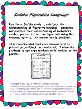 Figurative Language Worksheet 2 Answers Elegant Figurative Language Sudoku Activity Sheets with Answers by