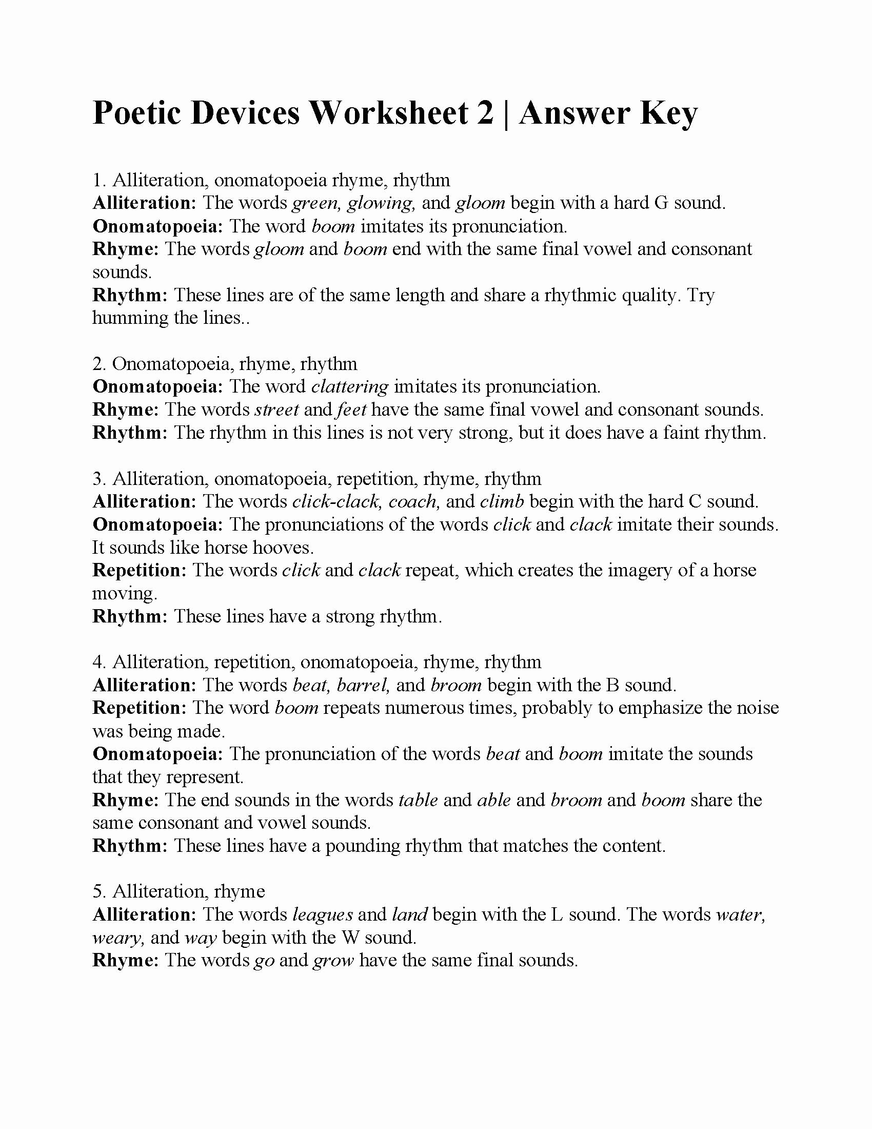 Figurative Language Worksheet 2 Answers Inspirational Poetic Devices Worksheet 2