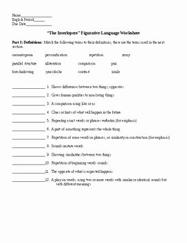 Figurative Language Worksheet 2 Answers Lovely the Interlopers by Saki Figurative Language Worksheet