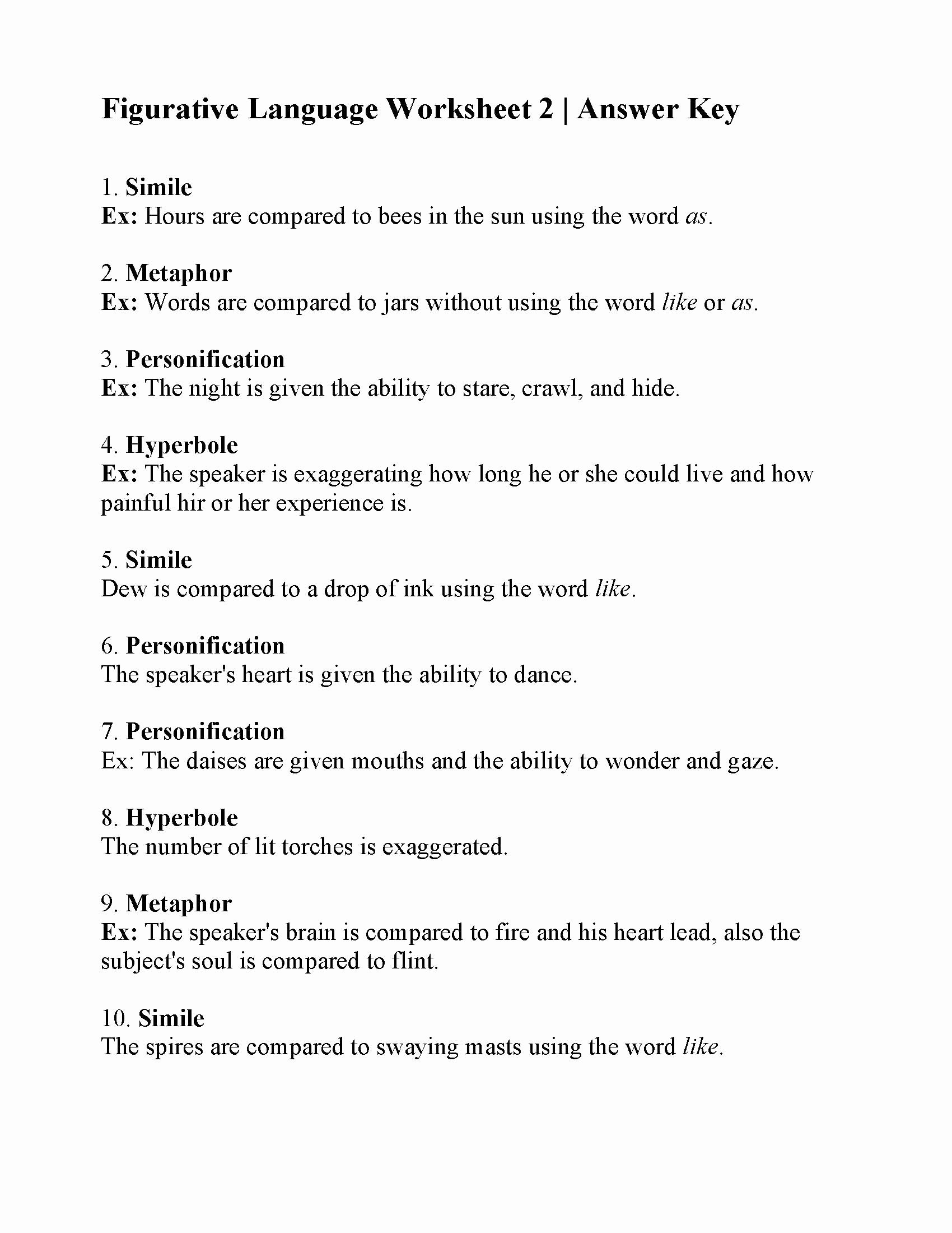 Figurative Language Worksheet 2 Answers New Figurative Language Worksheet 2