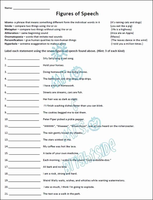 Figures Of Speech Worksheet Awesome Figurative Language 21 Questions Students Must Identify