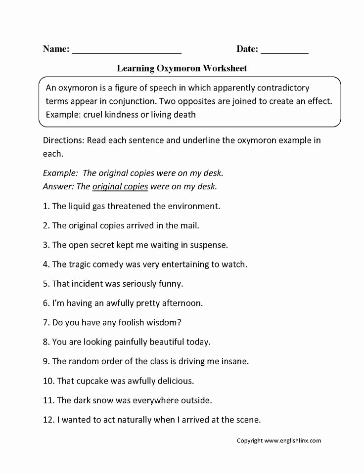 Figures Of Speech Worksheet Awesome Oxymoron Figurative Language Worksheets