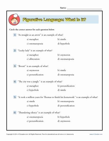 Figures Of Speech Worksheet Beautiful Figurative Language What is It