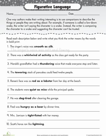 Figures Of Speech Worksheet Best Of Figurative Language Practice