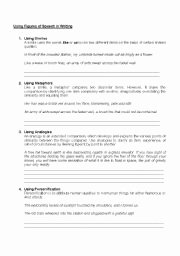 Figures Of Speech Worksheet Best Of Figures Of Speech Worksheets