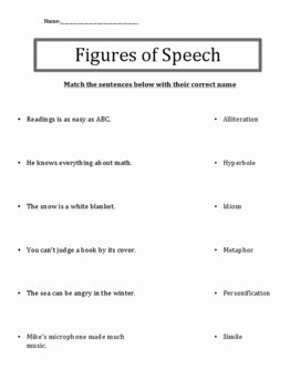 Figures Of Speech Worksheet Elegant Figurative Speech Review or Quiz by Easy Ideas