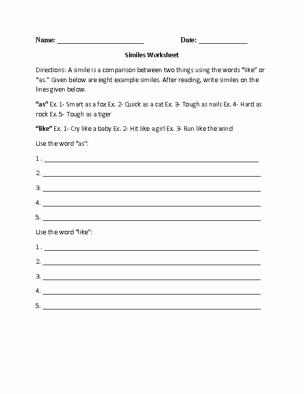 Figures Of Speech Worksheet Inspirational Englishlinx