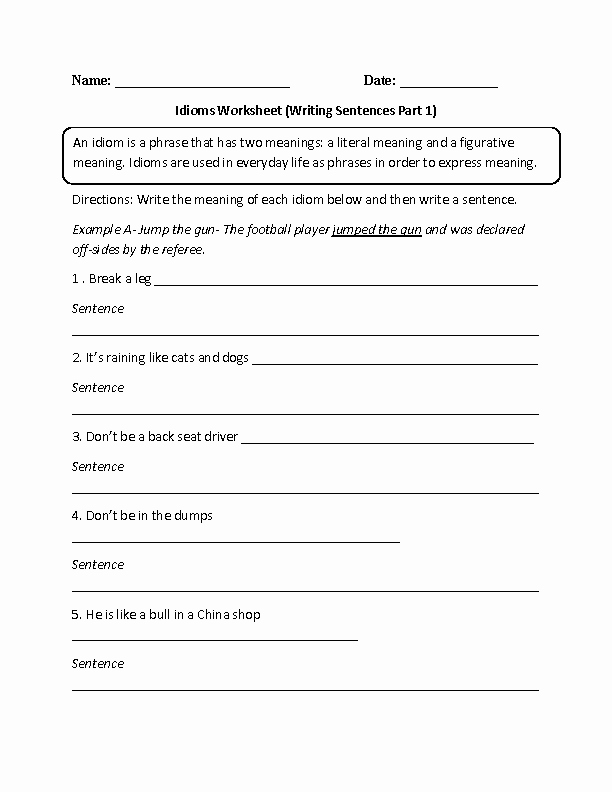 Figures Of Speech Worksheet Lovely Idioms Worksheet Writing Sentences Part 1 Intermediate