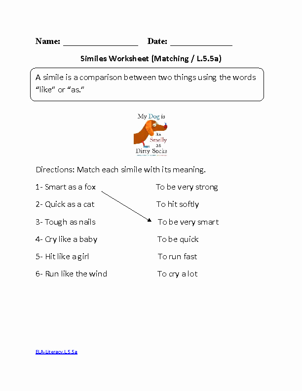 Figures Of Speech Worksheet Lovely Simile Worksheet 1 Ela Literacy L 5 5a Language Worksheet