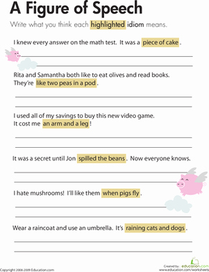 Figures Of Speech Worksheet Luxury Idioms A Figure Of Speech Worksheet