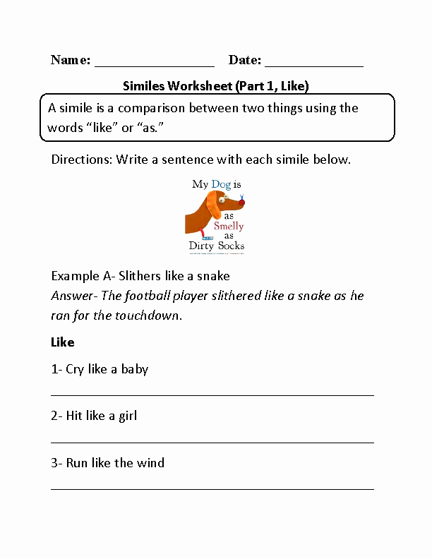 Figures Of Speech Worksheet New Englishlinx
