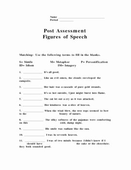 Figures Of Speech Worksheet New Figures Of Speech Pre Post assessment by Patrick Johnson