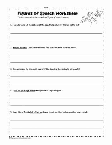 Figures Of Speech Worksheet Unique Figures Of Speech Worksheet Worksheets