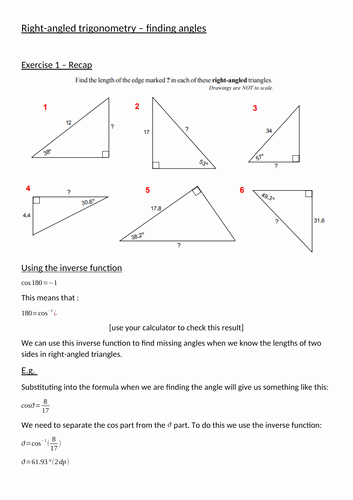 Find the Missing Angle Worksheet Beautiful Trigonometry Missing Angles by Mrgunnmaths