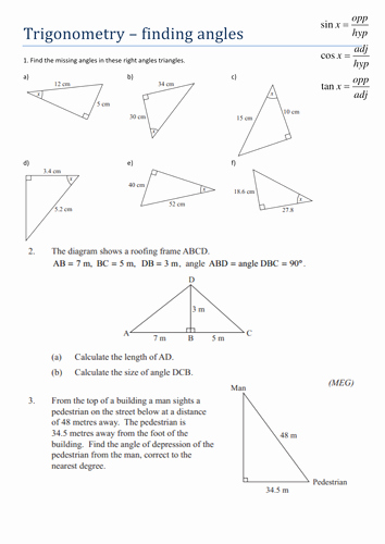 Find the Missing Angle Worksheet Best Of Trigonometry Finding Angles Worksheet by Tristanjones