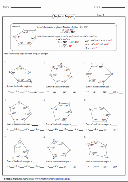 Find the Missing Angle Worksheet Fresh Polygon Worksheets