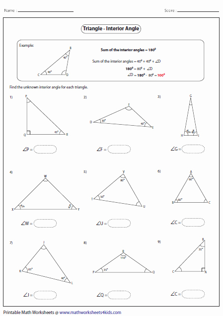 Find the Missing Angle Worksheet Inspirational Triangles Worksheets