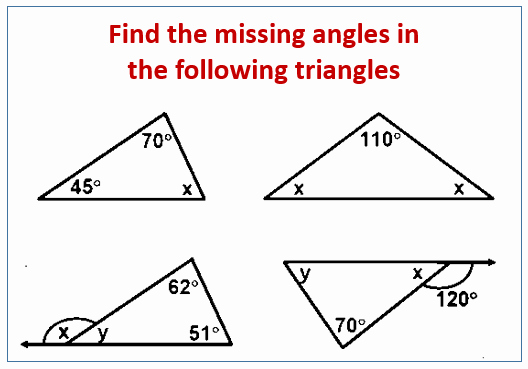 Find the Missing Angle Worksheet Lovely Find the Missing Angle In A Triangle Examples solutions
