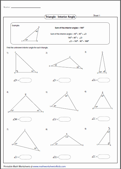 Find the Missing Angle Worksheet New Triangles Worksheets