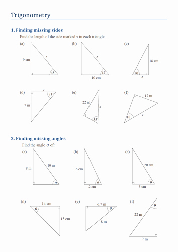 Find the Missing Angle Worksheet Unique Trigonometry Finding Missing Sides and Angles by