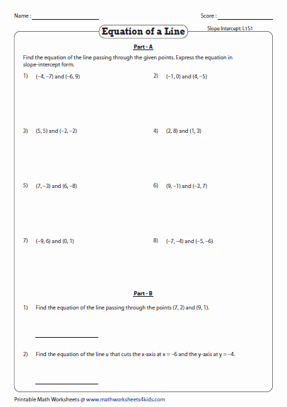 Find the Slope Worksheet Fresh Equation Of A Line Passing Through Two Points Worksheets