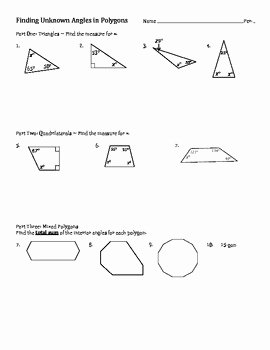 Finding Angle Measures Worksheet Beautiful Sum Of Interior Angles Finding Unknown Angles In Polygons