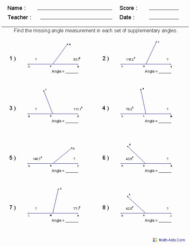 Finding Angle Measures Worksheet Lovely Geometry Worksheets